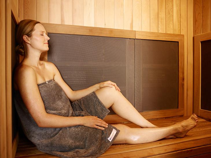 Relaxing in the sauna