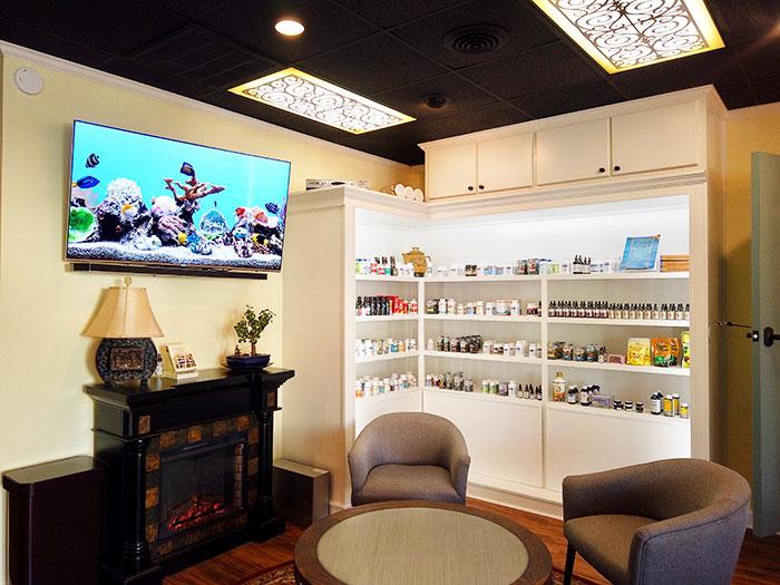 Wide selection of herbal medicine on shelves
